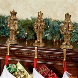 Nutcracker Stocking Holders Antique Gold Set of Three