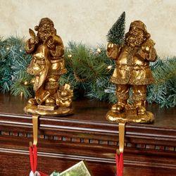 Vintage Santa Stocking Holders Antique Gold Set of Two