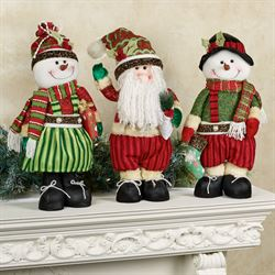 Glitzy Santa and Snow Couple Figures Multi Bright Set of Three