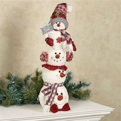 Cheerful Stacked Snowmen Holiday Accent Ivory