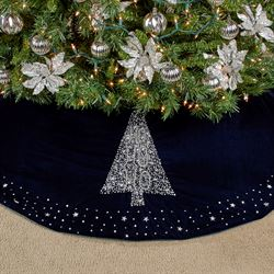 Ho Ho Ho Christmas Tree Skirt Midnight Blue