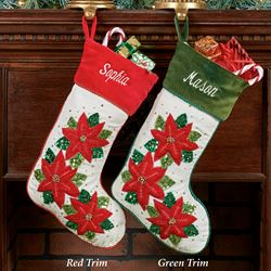 Sparkling Poinsettia Christmas Stocking Green