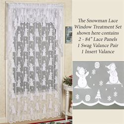 Snowman Lace Tailored Panel White