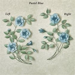Les Fleurs Rose Spray Wall Sculpture Pastel Blue
