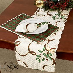 Holiday Nouveau Quilted Table Runner Light Cream 14 x 70