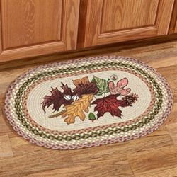 Autumn Leaves Braided Oval Rug Multi Earth 20 x 30