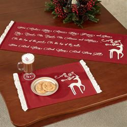 Reindeer Table Runner Dark Red 13 x 36