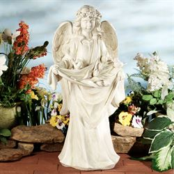 Liliae Garden Statue Ivory with Verdi Finish