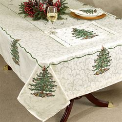 Christmas Tree Oblong Tablecloth Light Cream