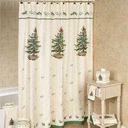 Christmas Tree Shower Curtain Light Cream 72 x 72