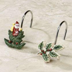 Christmas Tree Shower Hooks Light Cream Set of Twelve