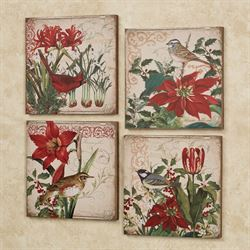 Christmas Botanicals Canvas Wall Art Multi Warm Set of Four