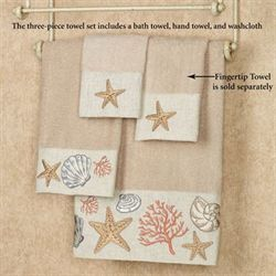 Sea Treasure Towel Set Linen Bath Hand Wash