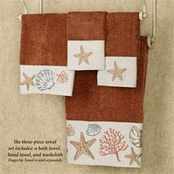 Sea Treasure Towel Set Rust Bath Hand Wash
