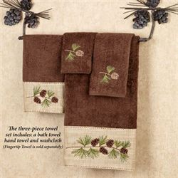 Pine Branch Towel Set Chocolate Bath Hand Wash