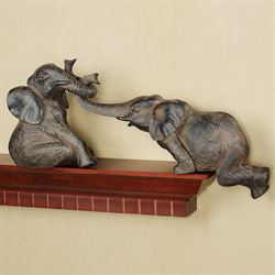 Helpful Elephant Shelf Sitters Bronze Set of Two