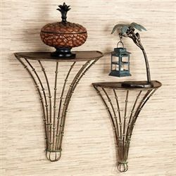 Bamboo Forest Wall Shelf Set Multi Earth Set of Two