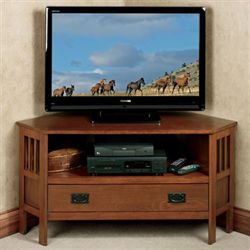 Laramie Corner TV Media Stand Mission Red Oak