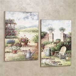 Outdoor Scene Wall Art Plaque Set Multi Warm Set of Two