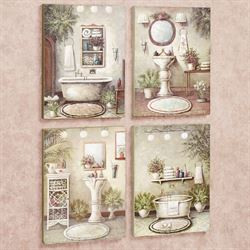 Bathroom Bliss Wall Art Plaque Set Multi Warm Set of Four