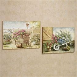 Blooming Florals Wall Art Plaque Set Multi Warm Set of Two