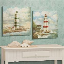 Lighthouse Harbor Wall Art Plaque Set Multi Cool Set of Two