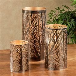 In Deep Woods Candleholders Antique Brass Set of Three