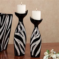 Kalahari Chic Zebra Candleholder Set of Two Black