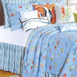 Reef Paradise Gathered Bedskirt Sky Blue