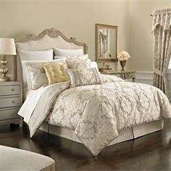 Ava Leaf 4 pc Comforter Set Light Taupe