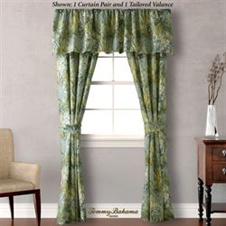 Cuba Cabana Tailored Curtain Pair Green 84 x 84