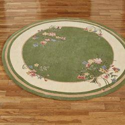 Floral Bouquet Round Rug Deep Sage 76 Round