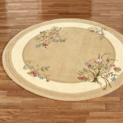 Floral Bouquet Round Rug Light Gold 76 Round