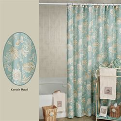 Natural Shells Shower Curtain Aqua 72 x 72