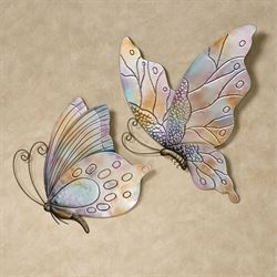Butterflies in Flight Wall Art Multi Pastel Set of Two