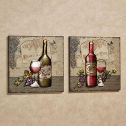 Chateau de Wine Wall Art Beige Set of Two