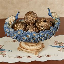 Luxe Plumes Peacock Decorative Centerpiece Bowl Blue