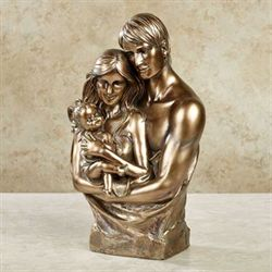 Full of Love Family Sculpture Antique Gold