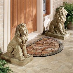 Lions at Guard Sculpture Pair - Large