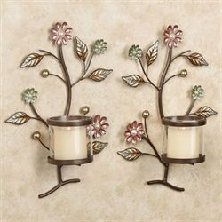 Garden Hues Wall Sconce Set Multi Pastel Set of Two