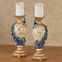 Luxe Plumes Peacock Candleholders Blue Set of Two