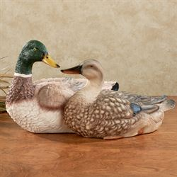 Duck Couple Table Sculpture Multi Earth