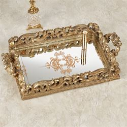 Elaine Mirrored Vanity Tray Venetian Gold