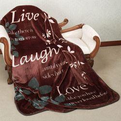 Live Laugh Love Throw Blanket Chocolate 60 x 80