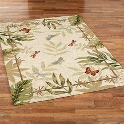 Butterflies Dragonflies Rectangle Rug Cream