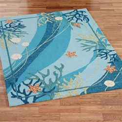 Underwater Coral Starfish Rectangle Rug Blue