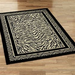 Wild Zebra Rectangle Rug Black/Ivory