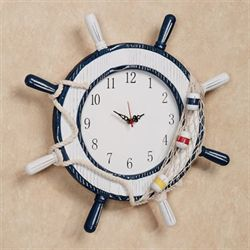 Ships Wheel Wall Clock Antique White