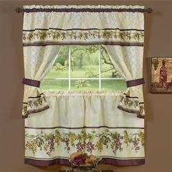 Tuscany Grape Tier and Valance Set Aubergine