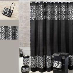 Black Mosaic Stone Shower Curtain 70 x 72